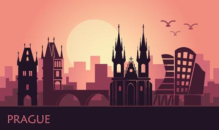 Stylized landscape of Prague with the main sights at sunset Illusztráció