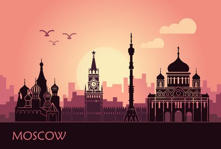 Abstract landscape of Moscow with sights at sunset. Vector illustration