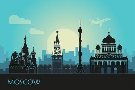 Abstrakte Landschaft von Moskau mit Sehenswürdigkeiten bei Sonnenuntergang
