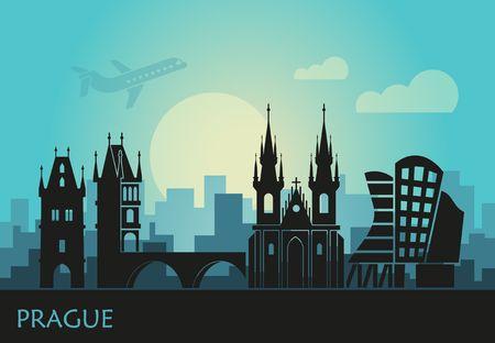 Stilisierte Landschaft von Prag mit den wichtigsten Sehenswürdigkeiten bei Sonnenuntergang