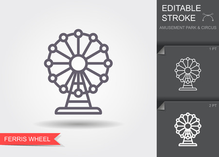 Ferris wheel. Line icon with editable stroke with shadow