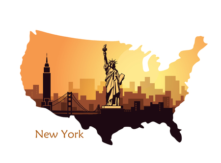 Abstract city skyline with sights of the New York at sunset. Vector illustration in the form of map the USA