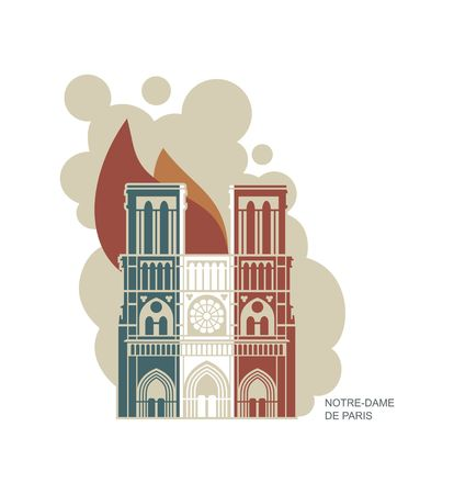 Notre Dame de Paris Cathedral in the colors of the French flag. Conflagration. Vector icon in flat style Illustration