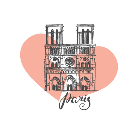 Notre Dame de Paris Cathedral, France. Illustration in the style of hand drawing with a broken heart