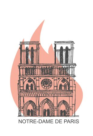 Notre Dame de Paris Cathedral on fire. Vector Illustration in the style of hand drawing Vectores