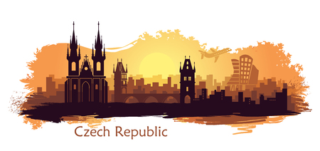 Stylized landscape of Prague with the main sights at ssunrise