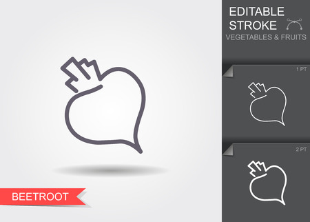 Beetroot. Line icon with editable stroke with shadow