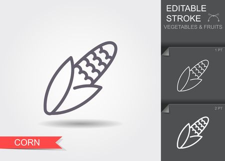 Corn. Line icon with editable stroke with shadow 일러스트