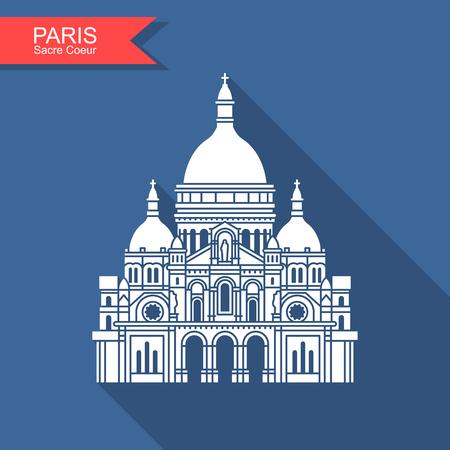 Basilica of the Sacre Coeur Paris. France monument landmark icon