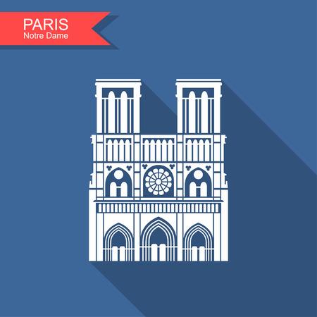 Notre Dame de Paris kathedraal, Frankrijk. Platte icoon met lange schaduw