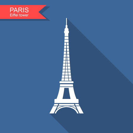 Eiffel tower , Paris, France Flat stylized icon with long shadow Illustration