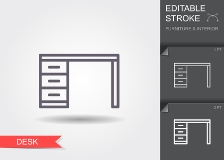 Desk. Outline icon with editable stroke. Linear symbol of the furniture and interior with shadow