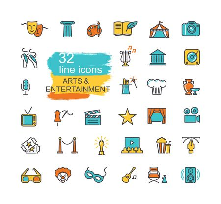 Arts and Entertainment icon set. Collection of vector icons