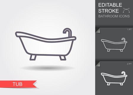 목욕통. 그림자가 있는 편집 가능한 선이 있는 선 아이콘 벡터 (일러스트)
