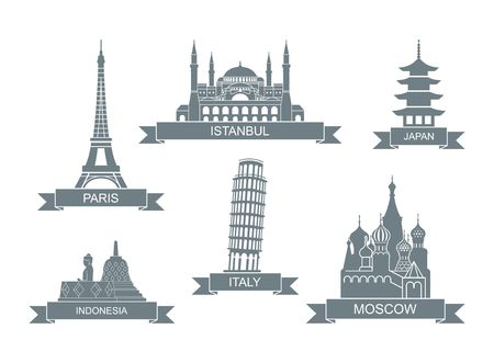 Weltarchitekturattraktionen. Stilisierte flache Symbole. Sehenswürdigkeiten in Paris, Istanbul, Japan, Italien, Russland, Indonesien