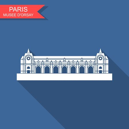 The Musee d orsay in Paris. Flat vector icon with long shadow