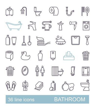 Restroom, Bathroom, Toilet con Set. Line Style vecty.
