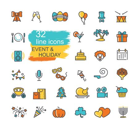 Set of linear icons on the theme of events and holiday