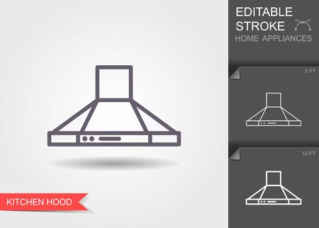 Kitchen hood. Outline icon with editable stroke. Linear symbol of the home appliances with shadow Ilustrace