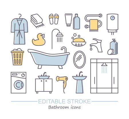 Bathroom icons. Line vector illustration with editable stroke