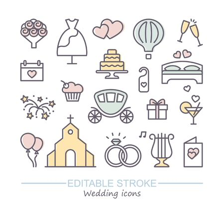 Wedding line icons set. Modern graphic design concepts, simple outline elements collection. Vector line icons with editable stroke Illustration