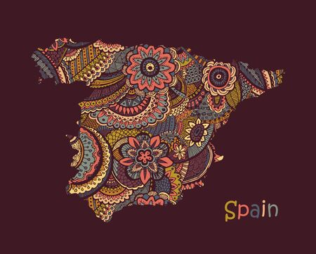 Textured vector map of Spain. Hand drawn ethno pattern