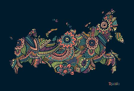 Textured vector map of Russia. Hand drawn ethno pattern.