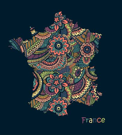 Textured vector map of France. Hand drawn ethno pattern.