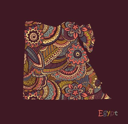 Textured vector map of Egypt. Hand drawn ethno pattern, tribal background. 向量圖像
