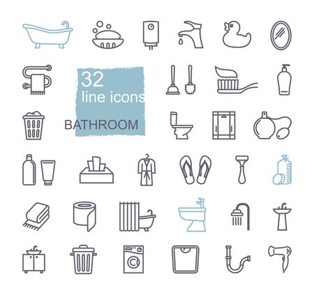 Restroom Bathroom Icon Set. Line Style stock vector.