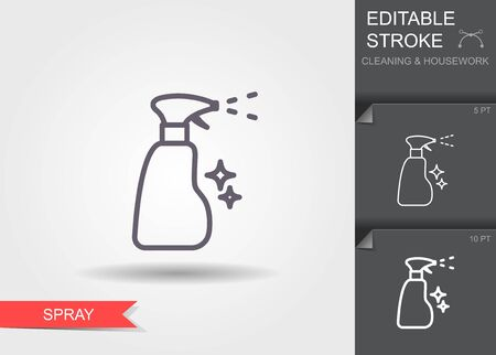 Spray bottle. Line icon with editable stroke with shadow 일러스트