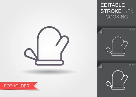 Oven glove. Line icon with editable stroke with shadow