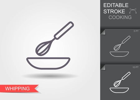 Whisk and bowl. Line icon with editable stroke with shadow Illustration