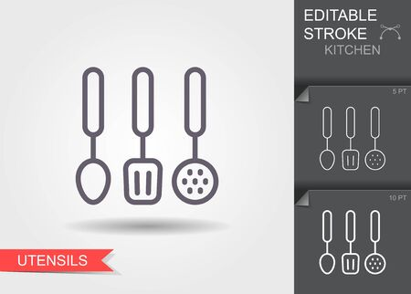 Cooking utensil. Line icon with editable stroke with shadow Illustration