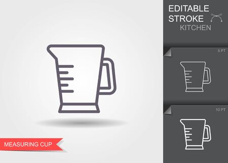 Measuring Cup. Line icon with editable stroke with shadow