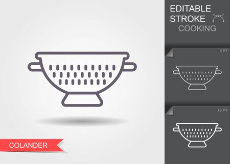 Kitchen colander. Line icon with editable stroke with shadow