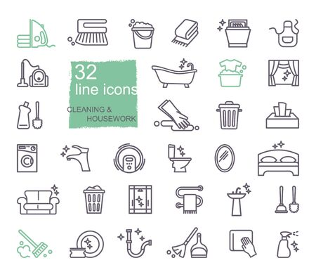 Cleaning and housework Icons, flat design, thin line style
