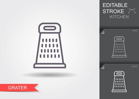 Grater. Line icon with editable stroke with shadow Ilustracja