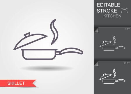 Frying pan with lid. Line icon with editable stroke with shadow Ilustracja