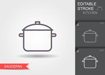 Saucepan. Line icon with editable stroke with shadow