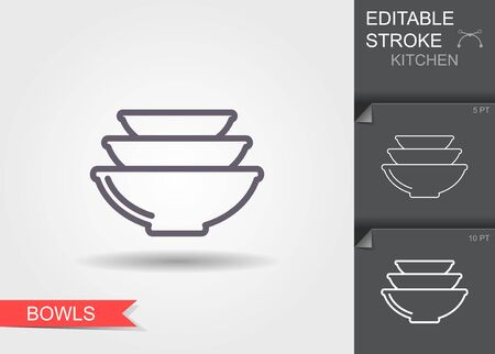 Bowls. Line icon with editable stroke with shadow Ilustracja