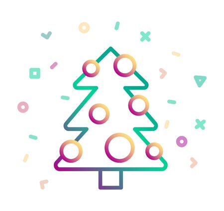Christmas tree decorated with balls. Vector icon Banque d'images - 130367291