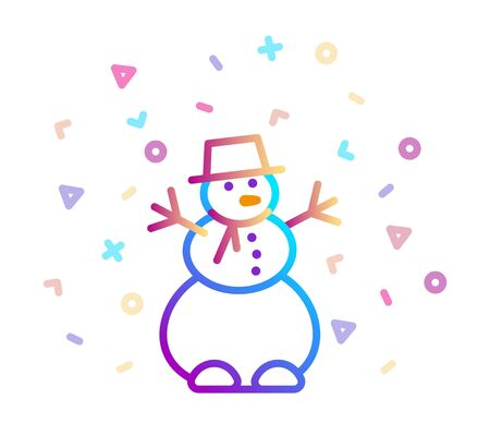 Linear colorful icon of a snowman with a festive decor
