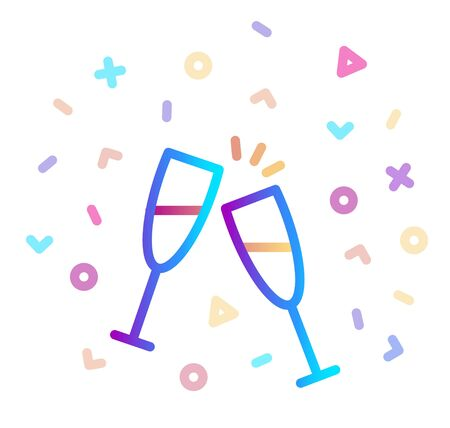 Two glasses of champagne surrounded by festive decor. Stylized vector icon