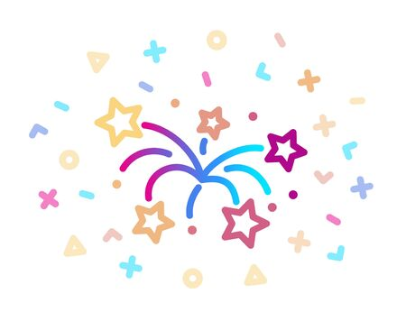 Linear colored icon of fireworks. Symbol of celebration