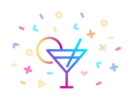 Linear colorful cocktail icon. Symbol of fun and celebration