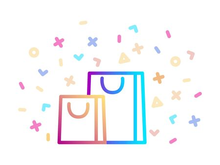 Gift bags surrounded by festive decor. Linear colorful icon. Holiday symbol
