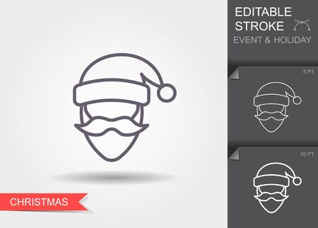 Santa Claus. Line icon with editable stroke with shadow