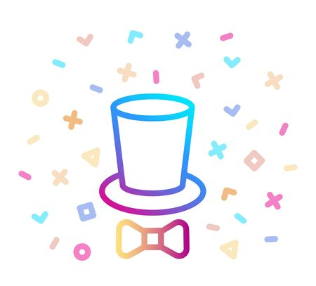 Top hat and tie bow line icon. Cylinder and bow vector illustration with festive decor