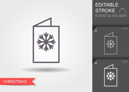 New year greeting card. Line icon with editable stroke with shadow
